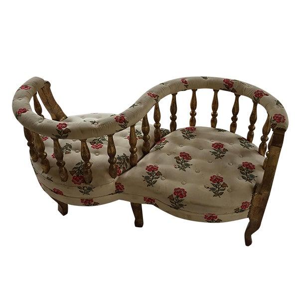 French tete a tete gilded wood tufted sofa chairish - Tete a tete sofa ...