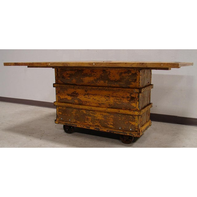 Reclaimed Mill Cart Coffee Table: Reclaimed Textile Mill Rolling Cart Harvest Table