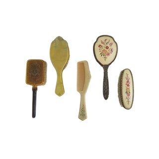 Vintage Soft Bristle Hair Vanity Brush Comb Collection - Set of 5