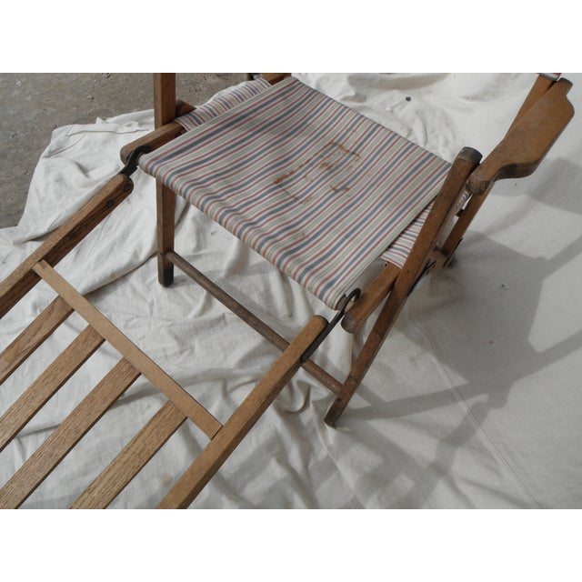 Antique Canvas Steamer Chair & Footrest - Image 7 of 8