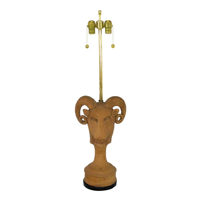 Pair of Italian Terracotta Ram's Head Table Lamps - Image 1 of 6