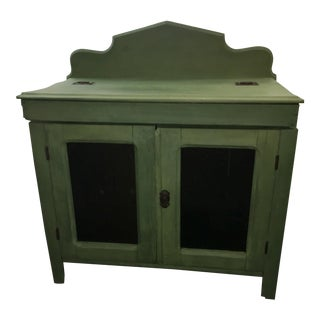 Antique Painted Green Grain Cabinet