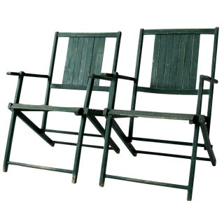 Vintage Wood Folding Chairs in Emerald - A Pair