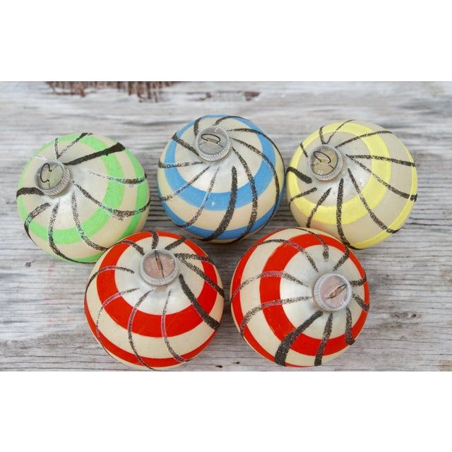 Striped West German Christmas Ornaments - Set of 5 - Image 6 of 11