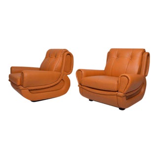 Pair of Art Deco Leather Club Chairs After Jean Michel Frank
