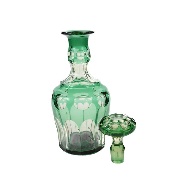 Bohemian Green Glass Decanters - A Pair - Image 8 of 8