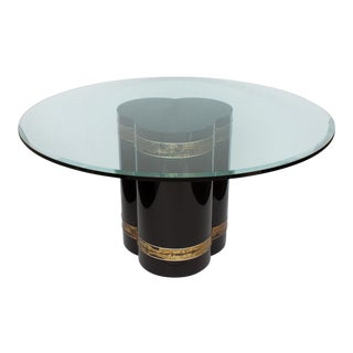 Bernhard Rohne Black Lacquer Brass Pedestal Dining Table