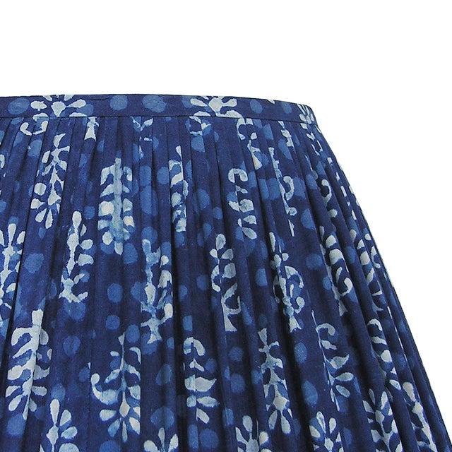 New, Made to Order, Indigo Blue Block Print Fabric, Small Pleated/Gathered Lamp Shade Shade - Image 4 of 4