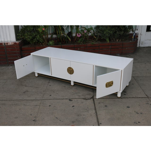 White Mid Century Oriental Low Credenza - Image 2 of 10