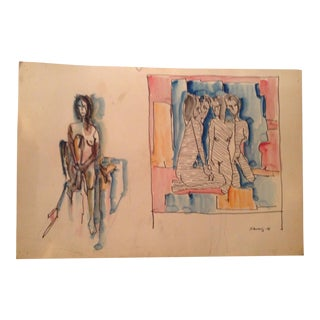 Mid-Century Abstract Figurative Painting, 1970's
