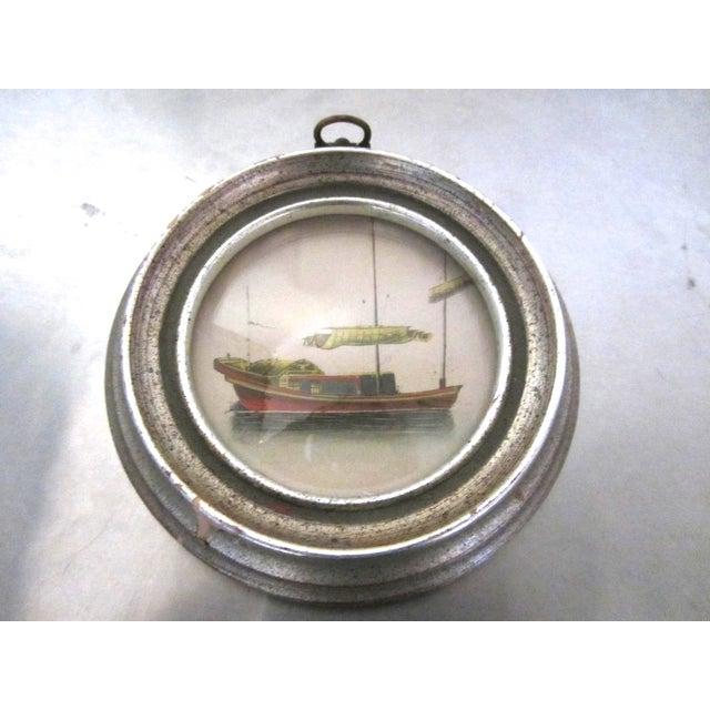 Image of Vintage Round Framed Boat Engravings - Pair