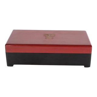 Streamlined Art Deco Bakelite Box with Burgundy Top with Cubist Detail
