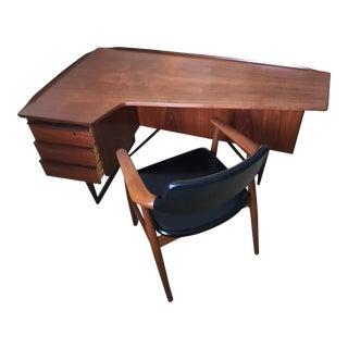 Peter Lovig Mid-Century Corner Writing Desk & Chair