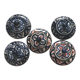 Moroccan Pottery Jars - Set of 5
