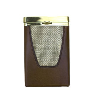 Mid-Century Leather & Tweed Cigarette Case