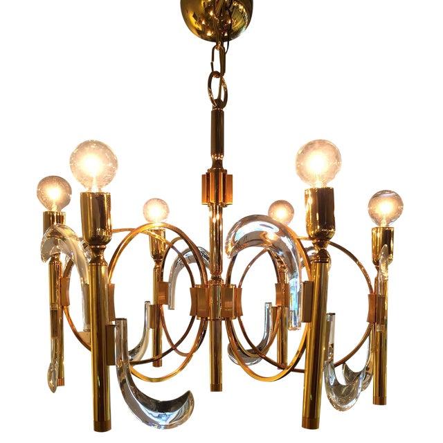 Image of Gaetano Sciolari Lucite and Brass Chandelier