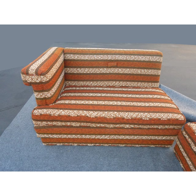 Mid-Century Modern Orange Stripped Sofa - Image 5 of 10