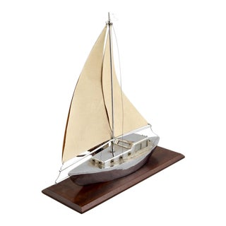 Art Deco Sculpted Metal Yacht Table Desk Lamp