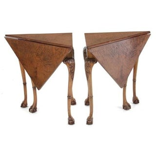 George II Burl Walnut Handkerchief Tables - A Pair