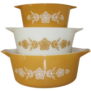Pyrex Casserole Bowls in Butterfly Gold Pattern - Set of 3