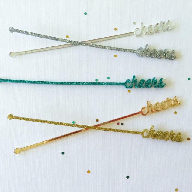 Blue Glitter Cheers Drink Stirrers - Set of 6 - Image 4 of 8