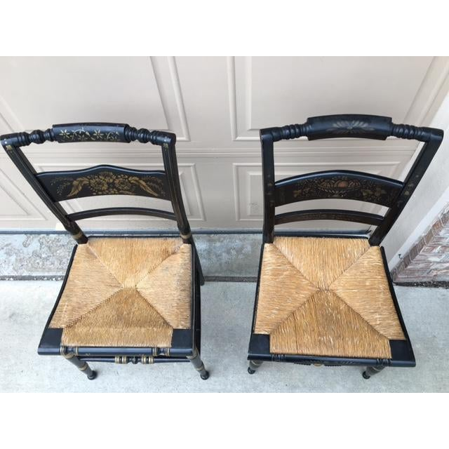 Hitchcock Style Painted Stenciled Rush Chairs - 2 - Image 3 of 9