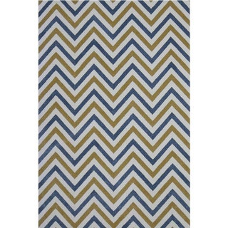 Chevron Blue Yellow Rug -- 8' x 10'7''