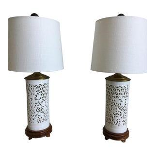 1950s Vintage Blanc de Chine Lamps - a Pair