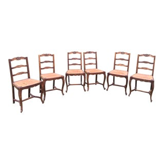 French Antique Dining Chairs With Rush Seats - Set of 6