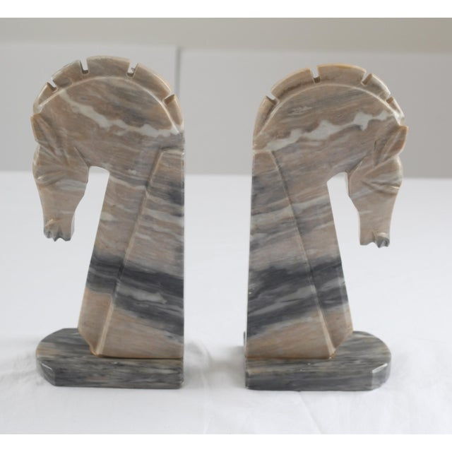 Image of Mid-Century Onyx Horse Head Bookends - Pair