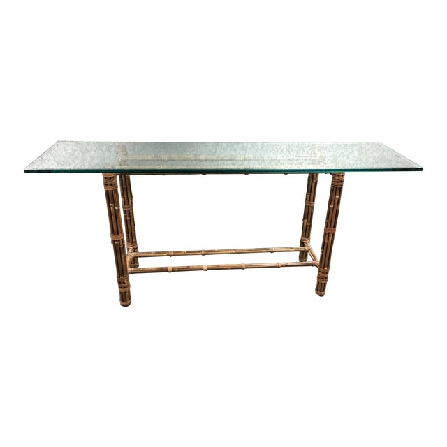 McGuire Bamboo & Glass Console Table - Image 1 of 9