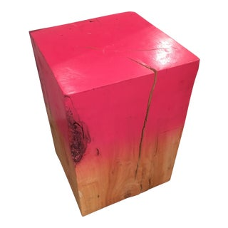 Solid Wood Pink Ombre Low Stool