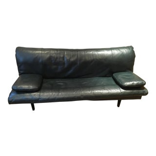De Sede Green Leather Convertible Sofa-Bed Designed by Ernst Ambuhler