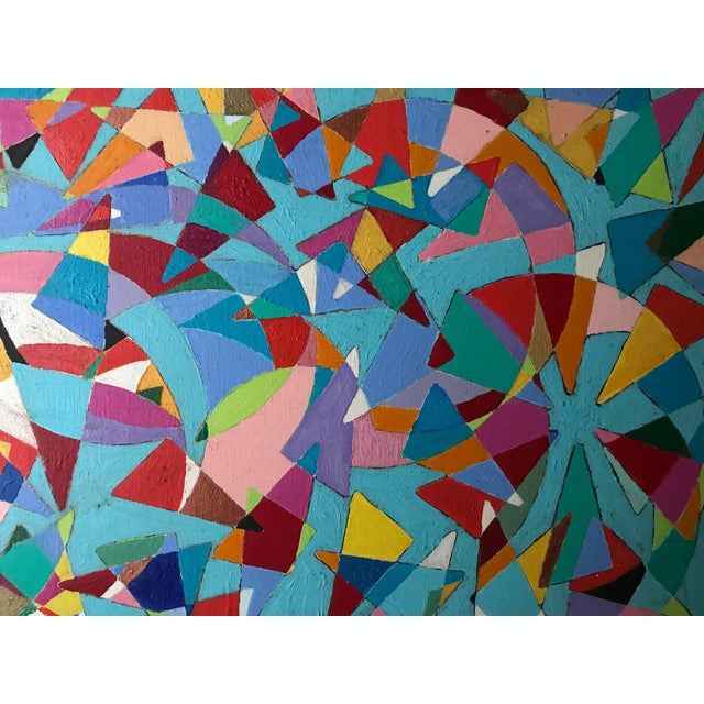 Vintage Geometric Abstract Painting #42 - Image 3 of 6
