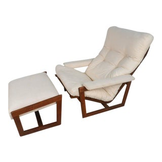 Vintage Teak Frame Lounge Chair With Ottoman