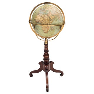 "12"" German Terrestrial Globe on Stand, Circa 1880"
