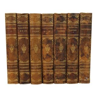Art Deco Leather-Bound Books - Set of 7