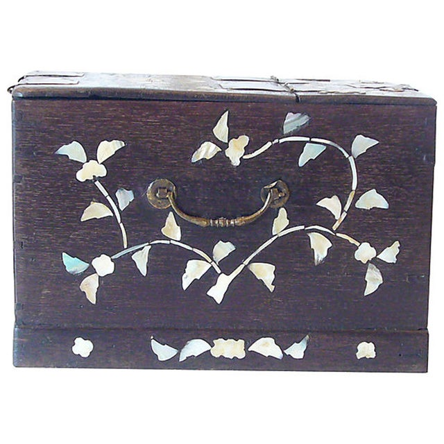 Antique Mother of Pearl Inlay Jewelry Box - Image 3 of 6