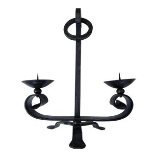 A Handsome Pair of English Arts & Crafts Wrought Iron 2-Arm Tripod Candelabras