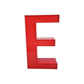 "Large 16"" Salvaged Red Marquee Storefront Letter E"