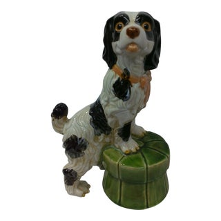 King Charles Spaniel on a Green Tuffet Ceramic Statue