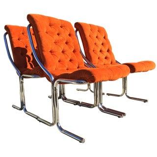Orange Tufted Velvet & Chrome Dining Chairs