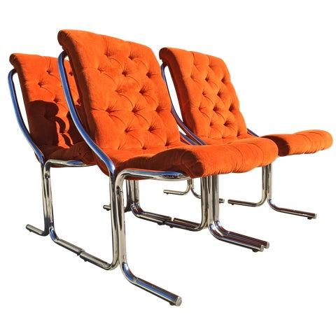 Image of Orange Tufted Velvet & Chrome Dining Chairs