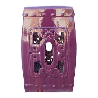 Purple Chinese Oriental Square Ceramic Stool
