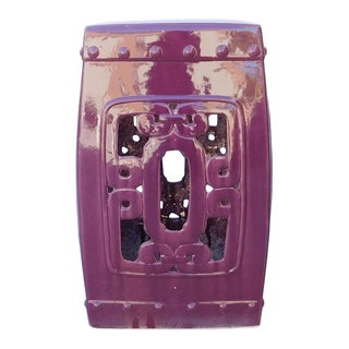 Purple Chinese Oriental Square Ceramic Stool