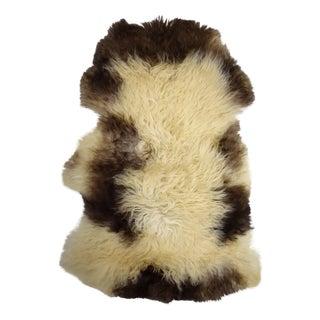 "Long Soft Beige Brown Wool Sheepskin Rug, Handmade Supple Pelt - 2'6"" X 3'10"""