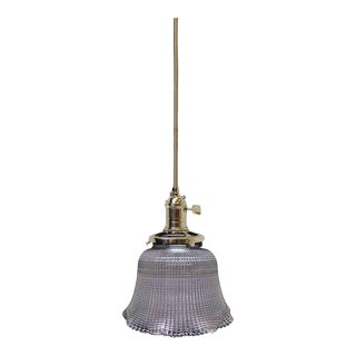 Cross Hatch Glass Holophane Pendant Light