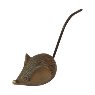 Vintage Brass Mouse Note Holder