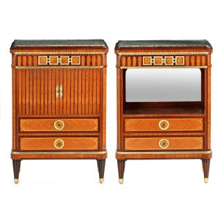 Maison Krieger French Parquetry Inlaid Nightstand Cabinets, Circa 1880- A Pair