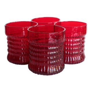 Red Textured Lowball Glasses - Set of 4